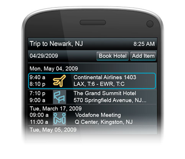 BlackBerry Mobile Itinerary